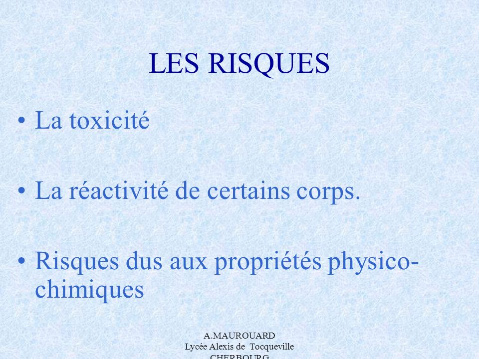 A.MAUROUARD Lycée Alexis de Tocqueville CHERBOURG Réponse: PV=nRT doù n(air) = PV= 10 5 x425.10 -3 = 18,63mol RT 8,314x278 On sait que : LIE< EXPLOSIVITE<LSE 0,019x 18,63 <n (diéthyléther)<0.36x 18,63 0,354 mol < n (diéthyléther)<6,7 mol 0,354x74,14=26,24 g< m(diéthyléther)<6,7x74,14=497,24g Masse réelle dans le frigo: m(diéthyléther)= Vxdx1000 =500.10 -3 x713=356,13 g Conclusion: On se trouve au dessus de la LIE et en dessous de la LSE, il y a donc EXPLOSION