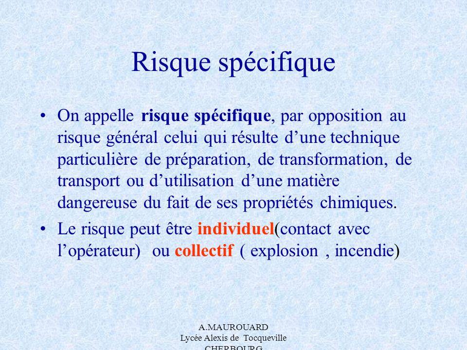A.MAUROUARD Lycée Alexis de Tocqueville CHERBOURG Risque spécifique On appelle risque spécifique, par opposition au risque général celui qui résulte d