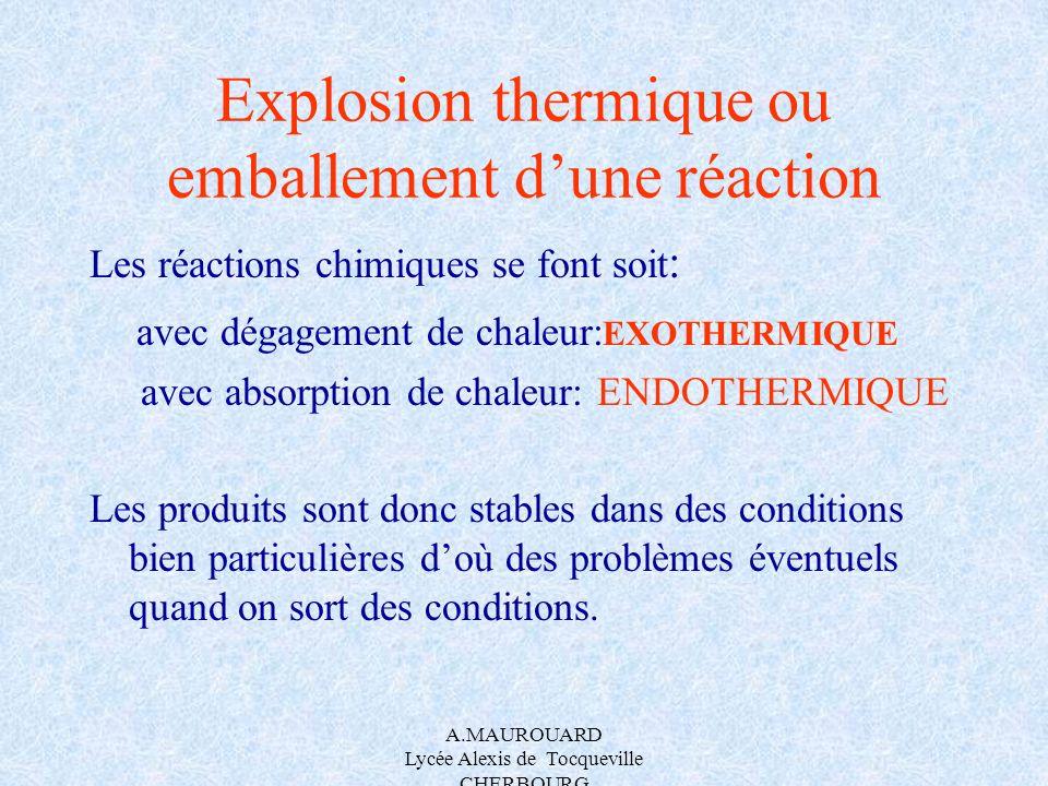 A.MAUROUARD Lycée Alexis de Tocqueville CHERBOURG Explosion thermique ou emballement dune réaction Les réactions chimiques se font soit : avec dégagem