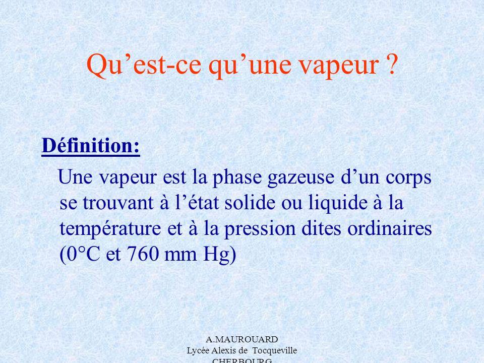 A.MAUROUARD Lycée Alexis de Tocqueville CHERBOURG Quest-ce quune vapeur ? Définition: Une vapeur est la phase gazeuse dun corps se trouvant à létat so