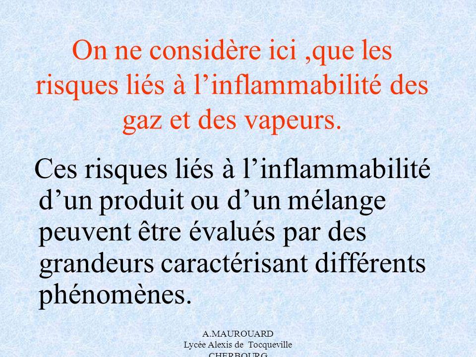 A.MAUROUARD Lycée Alexis de Tocqueville CHERBOURG On ne considère ici,que les risques liés à linflammabilité des gaz et des vapeurs. Ces risques liés