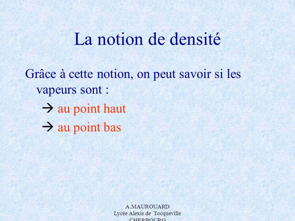A.MAUROUARD Lycée Alexis de Tocqueville CHERBOURG La notion de densité Grâce à cette notion, on peut savoir si les vapeurs sont : au point haut au poi