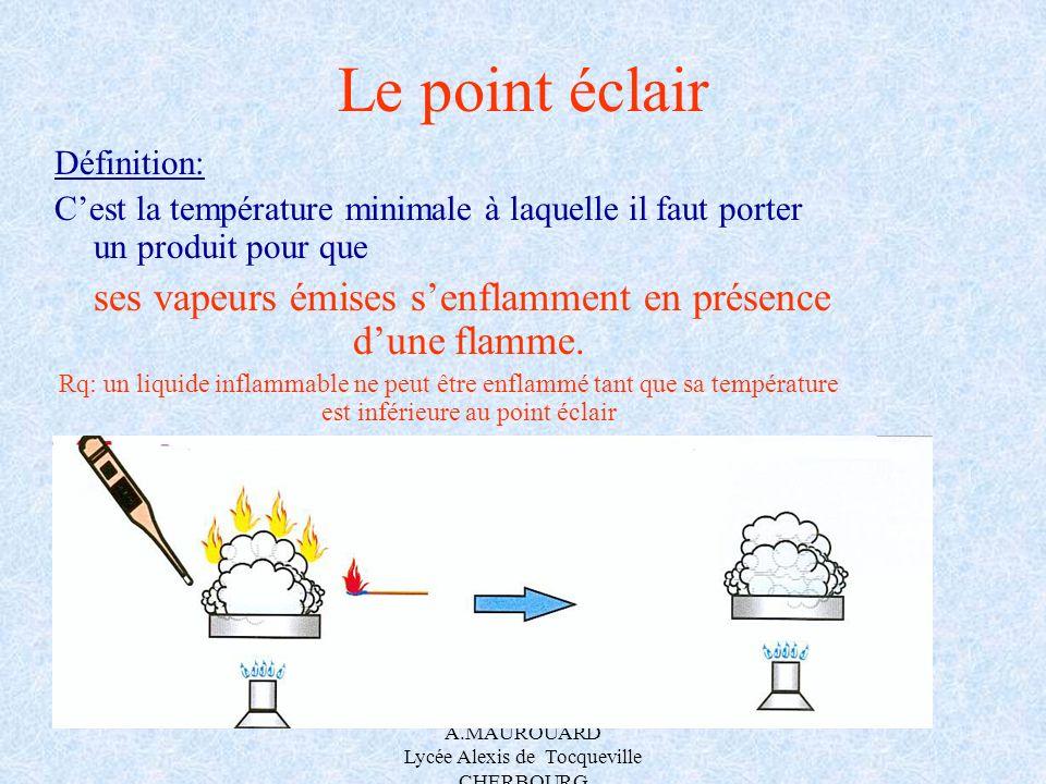 A.MAUROUARD Lycée Alexis de Tocqueville CHERBOURG Le point éclair Définition: Cest la température minimale à laquelle il faut porter un produit pour q