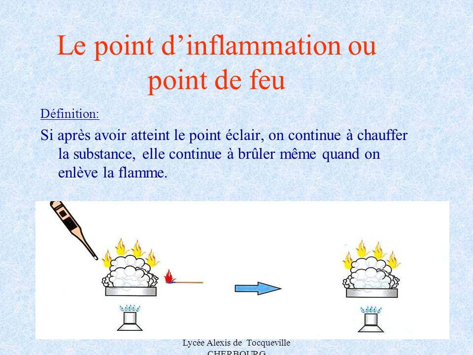 A.MAUROUARD Lycée Alexis de Tocqueville CHERBOURG Le point dinflammation ou point de feu Définition: Si après avoir atteint le point éclair, on contin