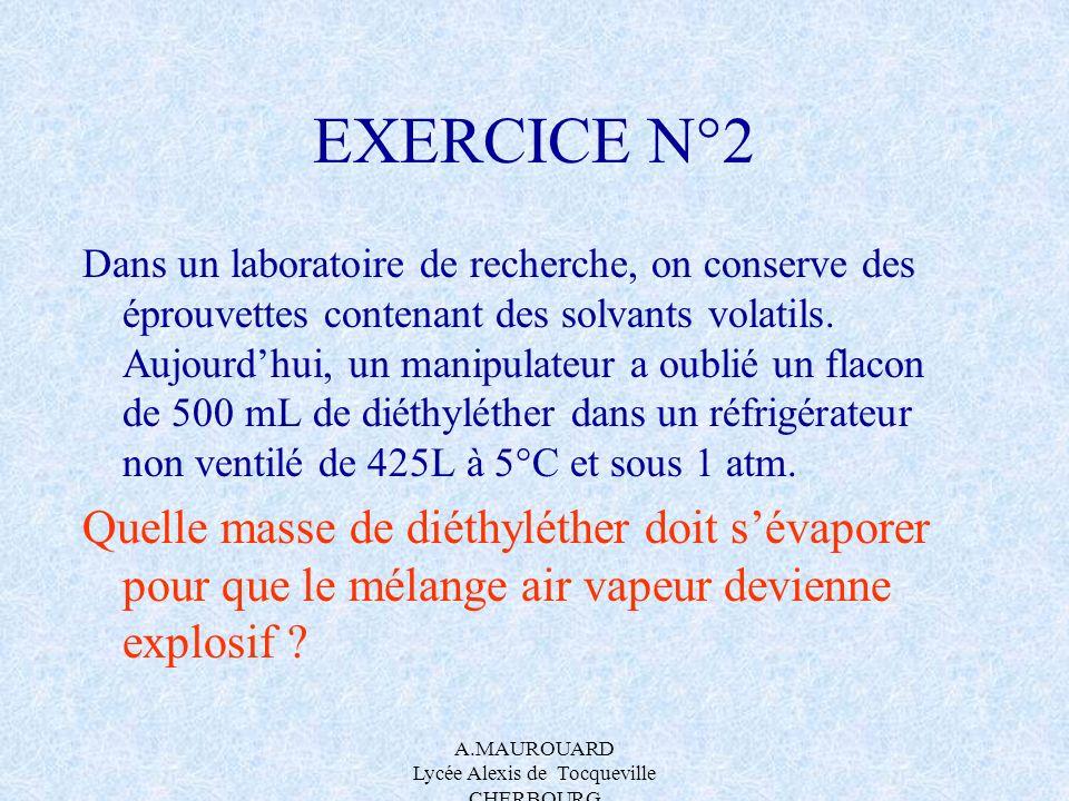 A.MAUROUARD Lycée Alexis de Tocqueville CHERBOURG EXERCICE N°2 Dans un laboratoire de recherche, on conserve des éprouvettes contenant des solvants vo