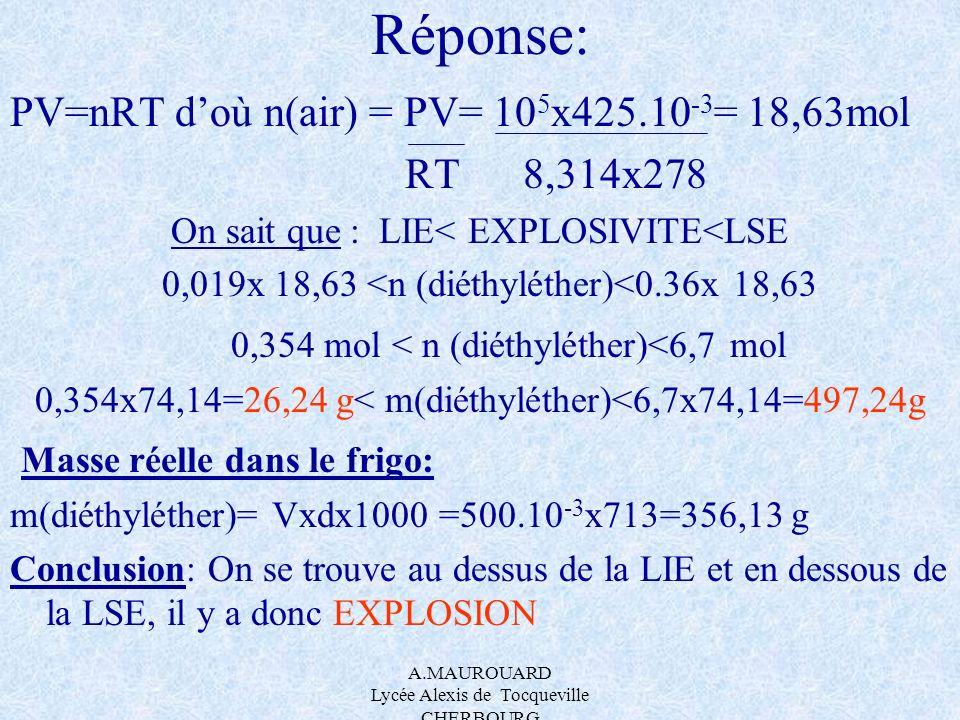 A.MAUROUARD Lycée Alexis de Tocqueville CHERBOURG Réponse: PV=nRT doù n(air) = PV= 10 5 x425.10 -3 = 18,63mol RT 8,314x278 On sait que : LIE< EXPLOSIV