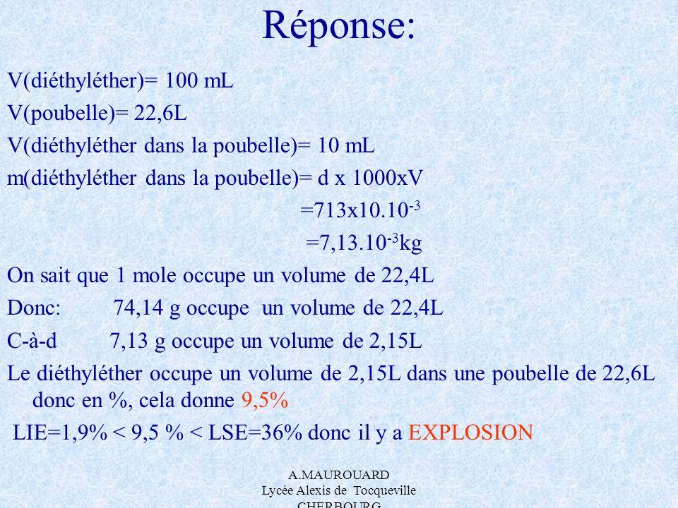 A.MAUROUARD Lycée Alexis de Tocqueville CHERBOURG Réponse: V(diéthyléther)= 100 mL V(poubelle)= 22,6L V(diéthyléther dans la poubelle)= 10 mL m(diéthy