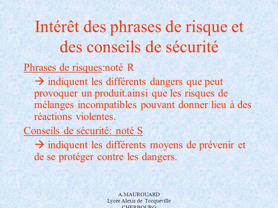 A.MAUROUARD Lycée Alexis de Tocqueville CHERBOURG Intérêt des phrases de risque et des conseils de sécurité Phrases de risques:noté R indiquent les di