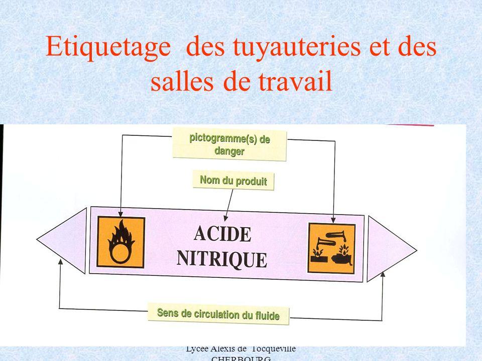 A.MAUROUARD Lycée Alexis de Tocqueville CHERBOURG Etiquetage des tuyauteries et des salles de travail