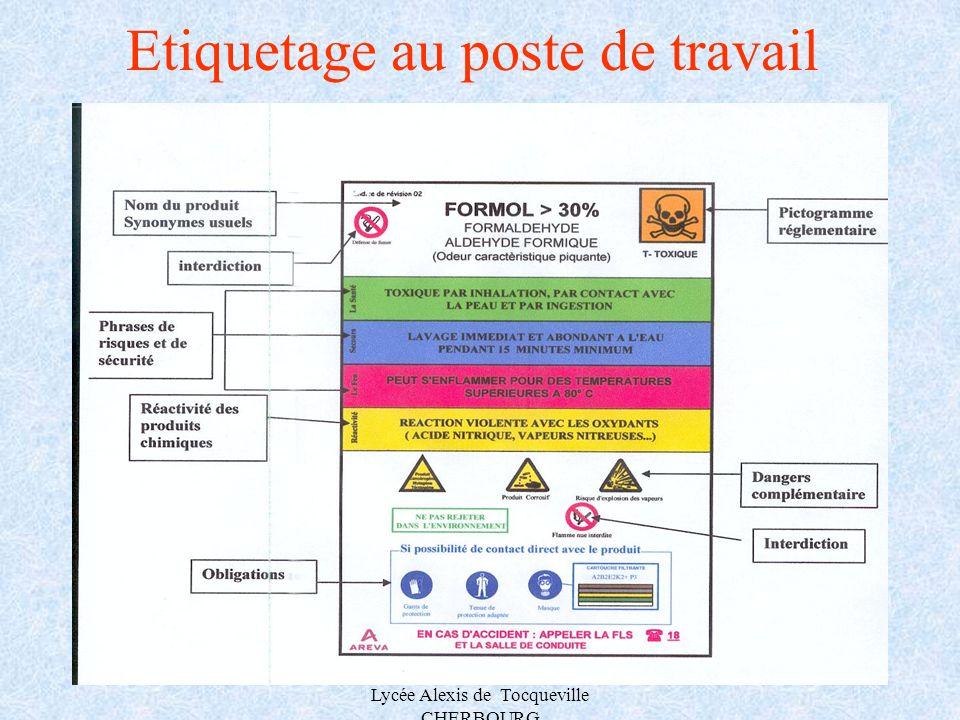 A.MAUROUARD Lycée Alexis de Tocqueville CHERBOURG Etiquetage au poste de travail