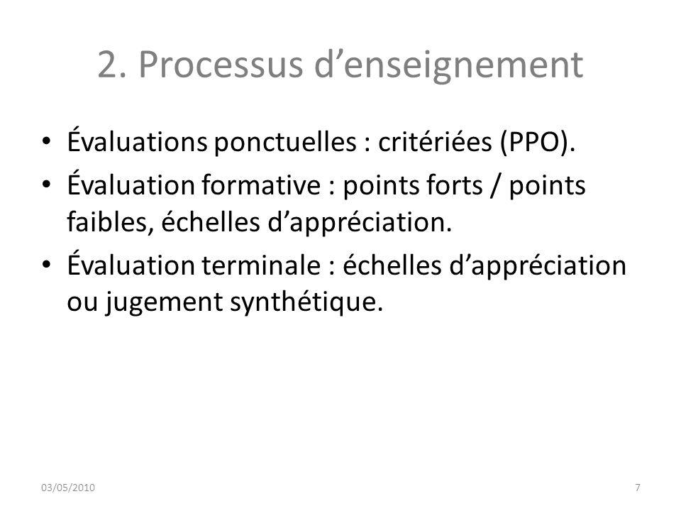 Évaluations ponctuelles : critériées (PPO). Évaluation formative : points forts / points faibles, échelles dappréciation. Évaluation terminale : échel