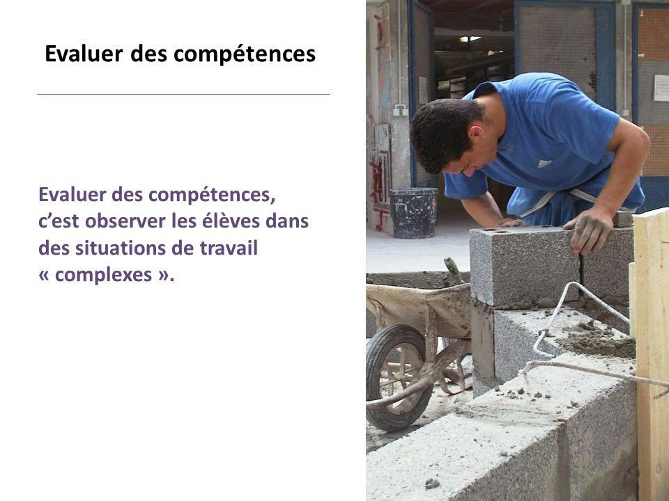 Evaluer des compétences, cest observer les élèves dans des situations de travail « complexes ».