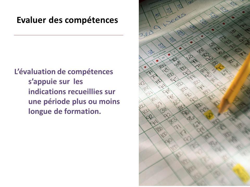 Evaluer des compétences Lévaluation de compétences sappuie sur les indications recueillies sur une période plus ou moins longue de formation.