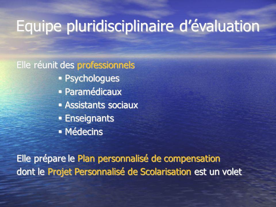 Equipe pluridisciplinaire dévaluation Elle réunit des professionnels Psychologues Psychologues Paramédicaux Paramédicaux Assistants sociaux Assistants