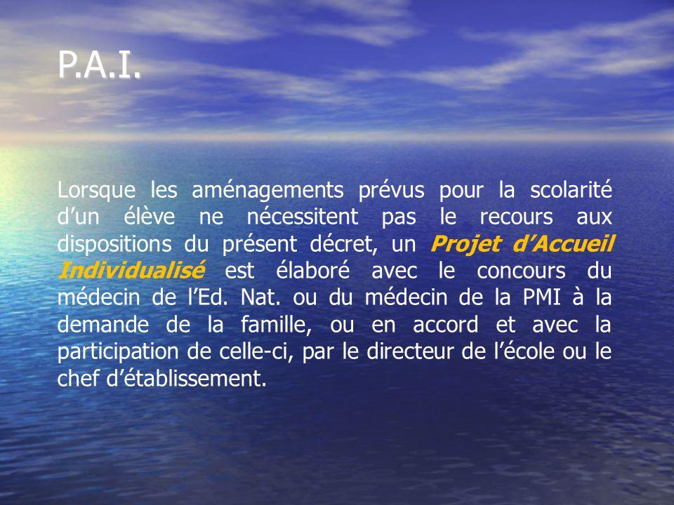 P.A.I. Lorsque les aménagements prévus pour la scolarité dun élève ne nécessitent pas le recours aux dispositions du présent décret, un Projet dAccuei