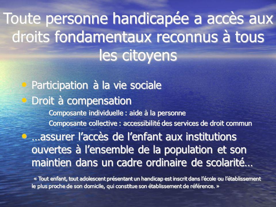 Toute personne handicapée a accès aux droits fondamentaux reconnus à tous les citoyens Participation à la vie sociale Participation à la vie sociale D