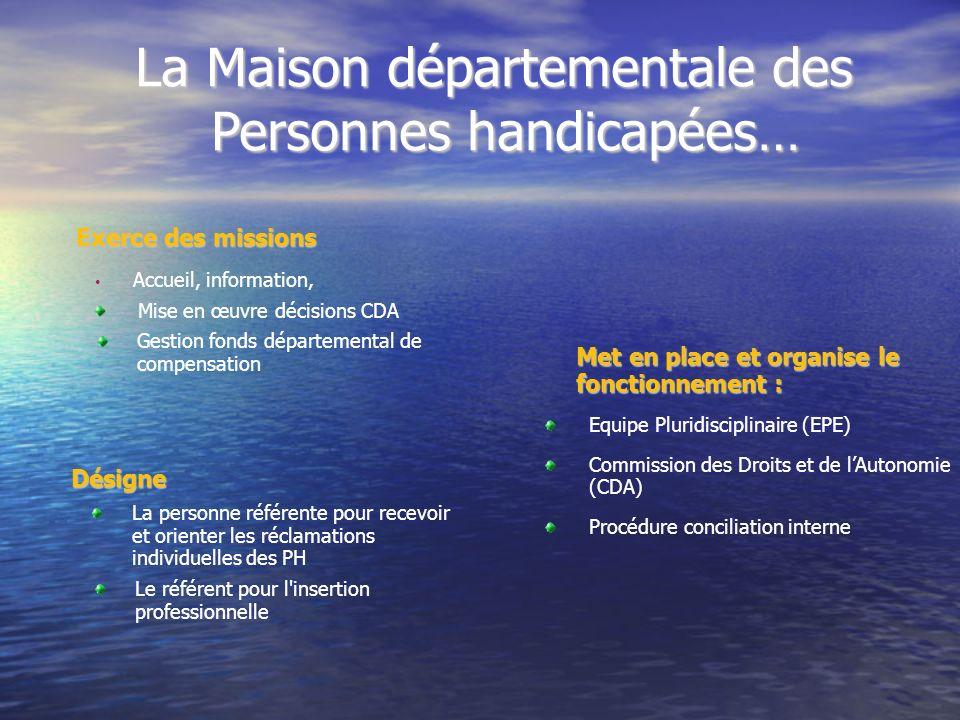 La Maison départementale des Personnes handicapées… La Maison départementale des Personnes handicapées… Met en place et organise le fonctionnement : E
