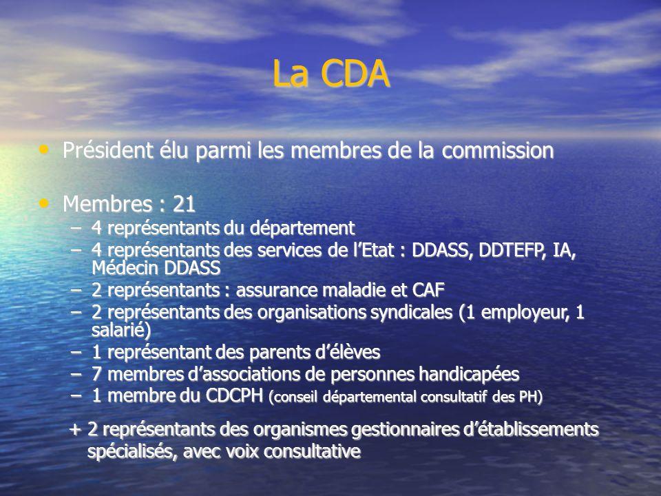 La CDA Président élu parmi les membres de la commission Président élu parmi les membres de la commission Membres : 21 Membres : 21 –4 représentants du