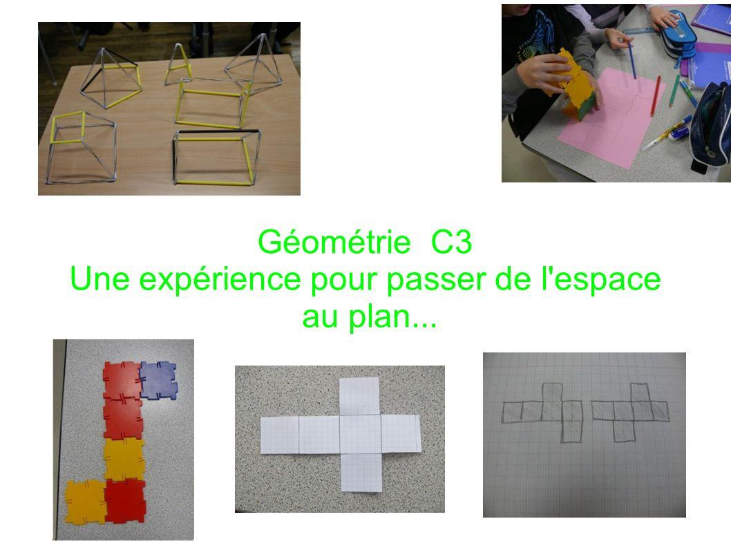 Géométrie C3 Une expérience pour passer de l'espace au plan...