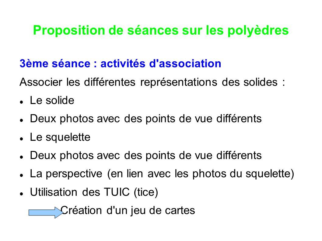 Proposition de séances sur les polyèdres 3ème séance : activités d'association Associer les différentes représentations des solides : Le solide Deux p