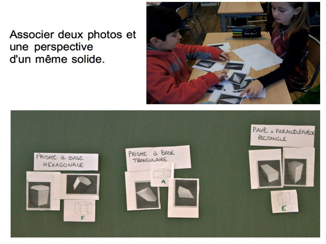 Associer deux photos et une perspective d'un même solide.