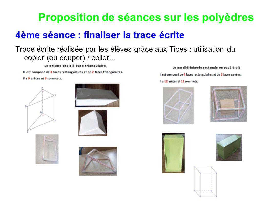Proposition de séances sur les polyèdres 4ème séance : finaliser la trace écrite Trace écrite réalisée par les élèves grâce aux Tices : utilisation du