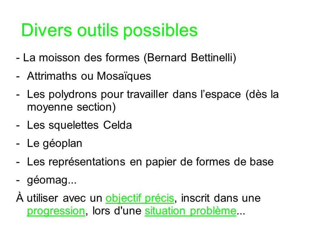 Divers outils possibles - La moisson des formes (Bernard Bettinelli) -Attrimaths ou Mosaïques -Les polydrons pour travailler dans lespace (dès la moye