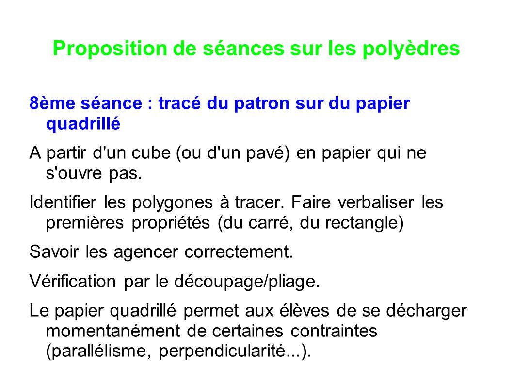 Proposition de séances sur les polyèdres 8ème séance : tracé du patron sur du papier quadrillé A partir d'un cube (ou d'un pavé) en papier qui ne s'ou