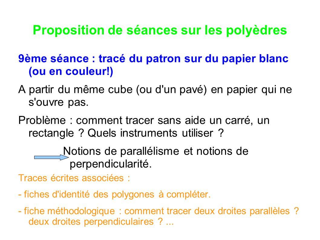 Proposition de séances sur les polyèdres 9ème séance : tracé du patron sur du papier blanc (ou en couleur!) A partir du même cube (ou d'un pavé) en pa