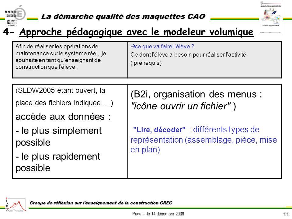 11 Paris – le 14 décembre 2009 La démarche qualité des maquettes CAO Groupe de réflexion sur lenseignement de la construction GREC Afin de réaliser le
