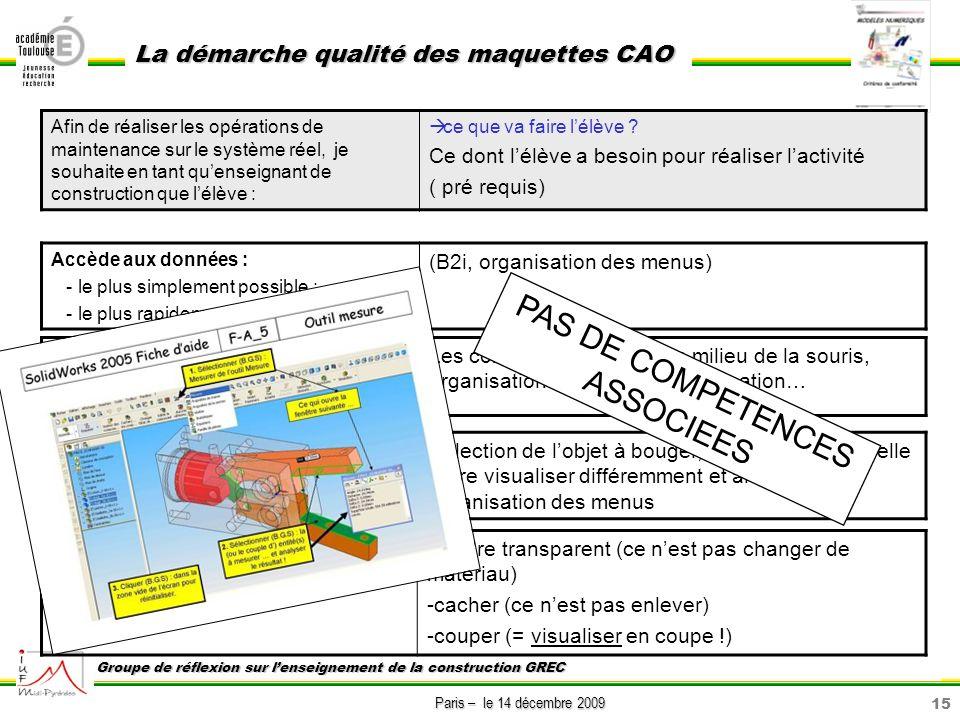 15 Paris – le 14 décembre 2009 La démarche qualité des maquettes CAO Groupe de réflexion sur lenseignement de la construction GREC Afin de réaliser le