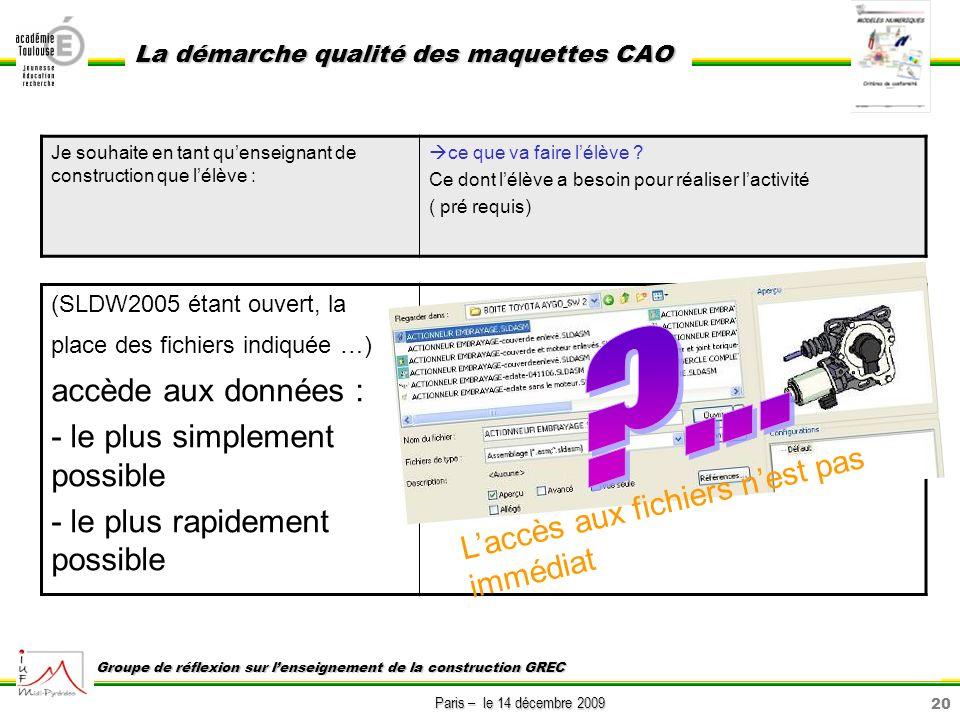 20 Paris – le 14 décembre 2009 La démarche qualité des maquettes CAO Groupe de réflexion sur lenseignement de la construction GREC (SLDW2005 étant ouv