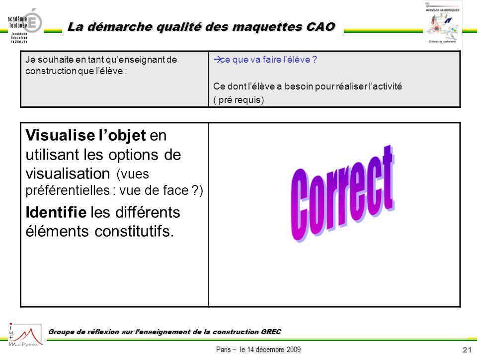 21 Paris – le 14 décembre 2009 La démarche qualité des maquettes CAO Groupe de réflexion sur lenseignement de la construction GREC Visualise lobjet en
