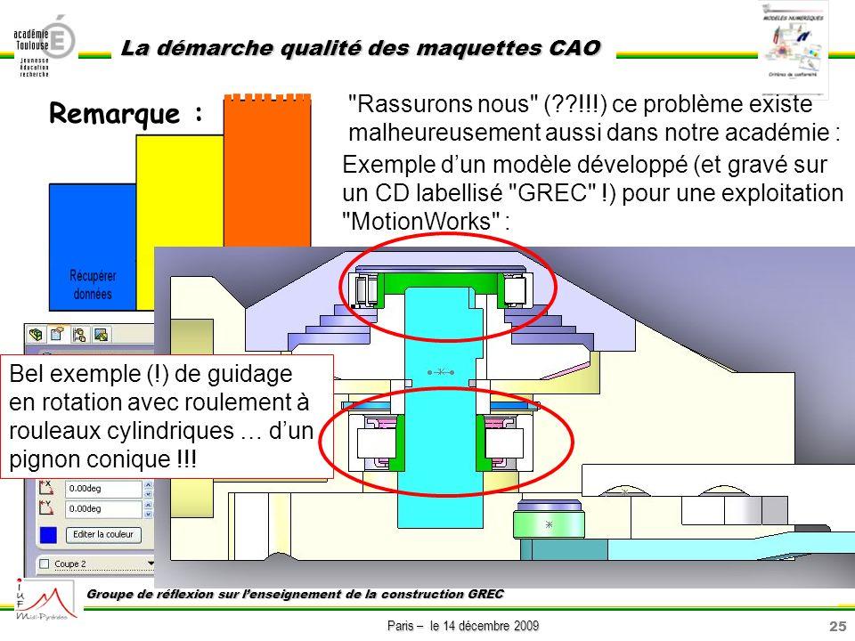 25 Paris – le 14 décembre 2009 La démarche qualité des maquettes CAO Groupe de réflexion sur lenseignement de la construction GREC Remarque :