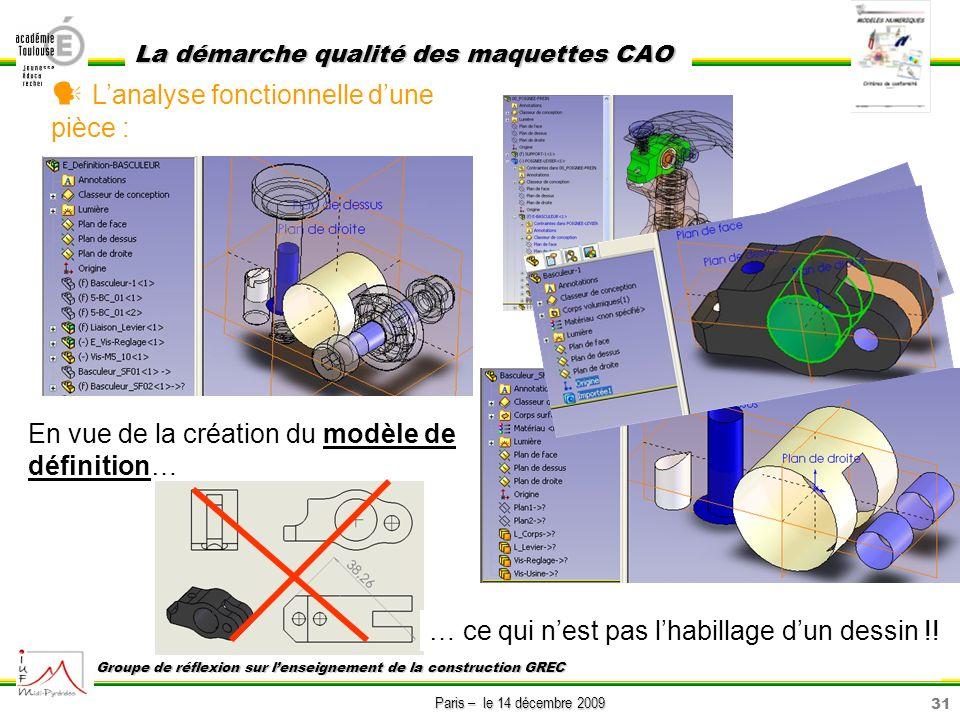 31 Paris – le 14 décembre 2009 La démarche qualité des maquettes CAO Groupe de réflexion sur lenseignement de la construction GREC Lanalyse fonctionne