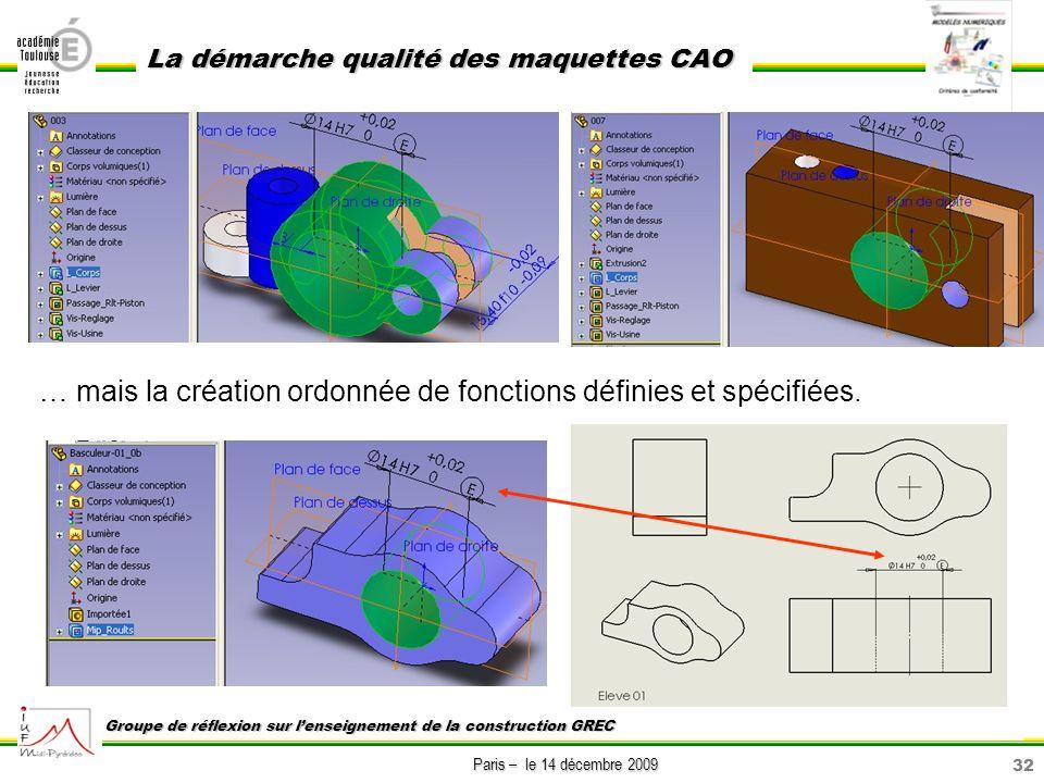32 Paris – le 14 décembre 2009 La démarche qualité des maquettes CAO Groupe de réflexion sur lenseignement de la construction GREC … mais la création