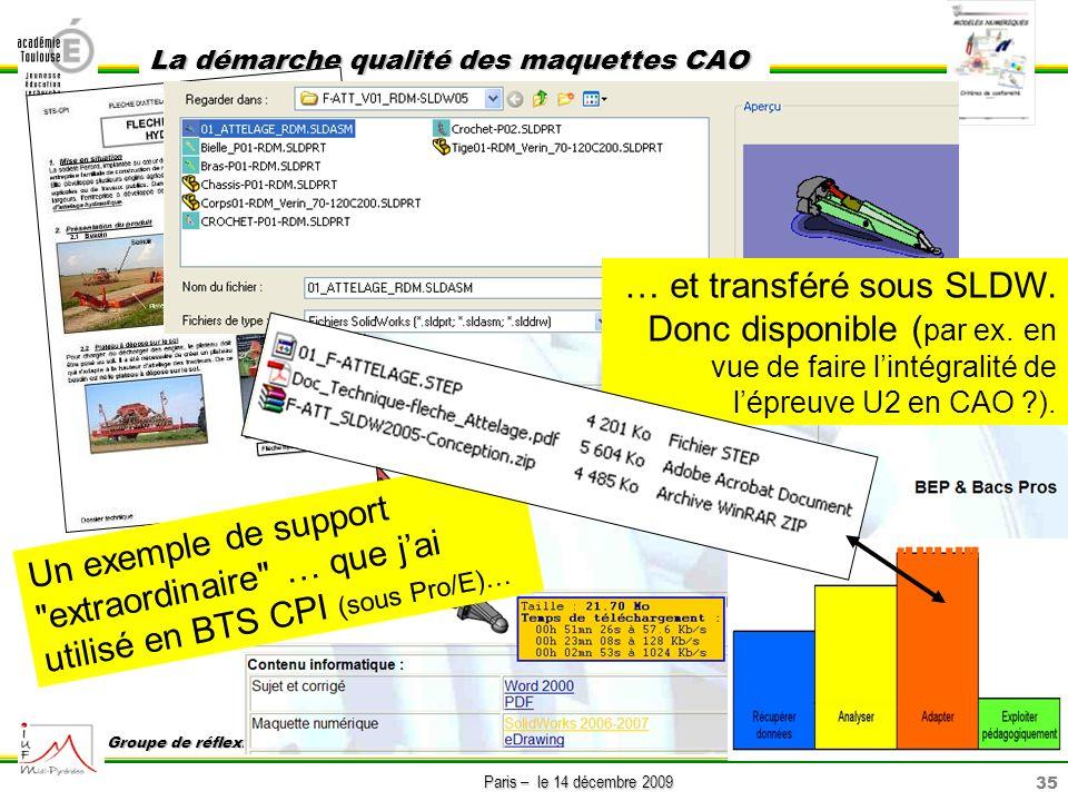 35 Paris – le 14 décembre 2009 La démarche qualité des maquettes CAO Groupe de réflexion sur lenseignement de la construction GREC … et transféré sous