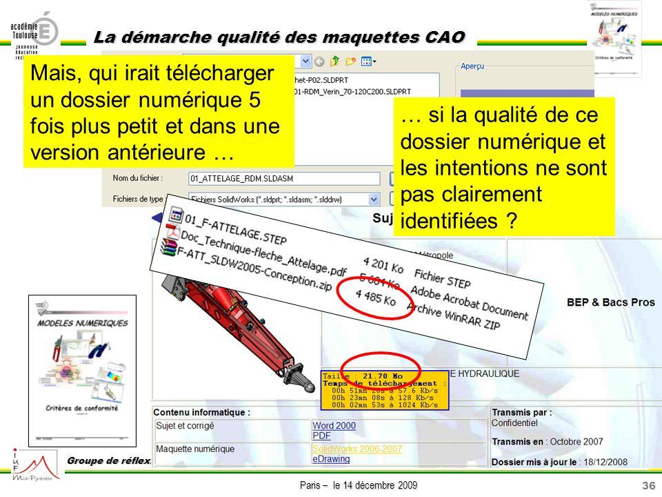 36 Paris – le 14 décembre 2009 La démarche qualité des maquettes CAO Groupe de réflexion sur lenseignement de la construction GREC Mais, qui irait tél