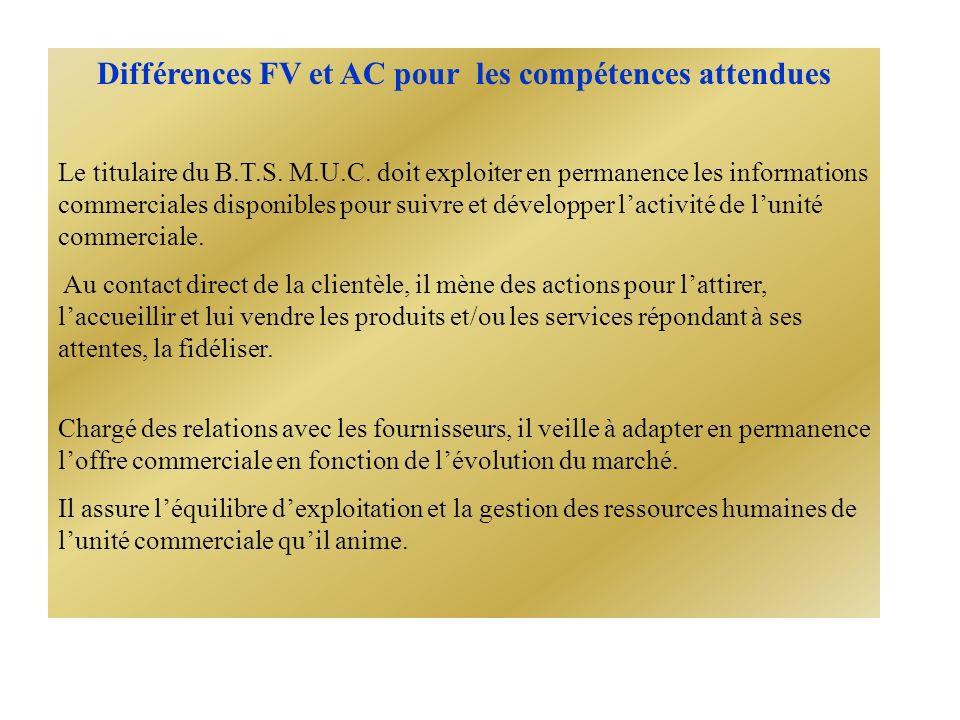 Différences FV et AC pour les compétences attendues Le titulaire du B.T.S.