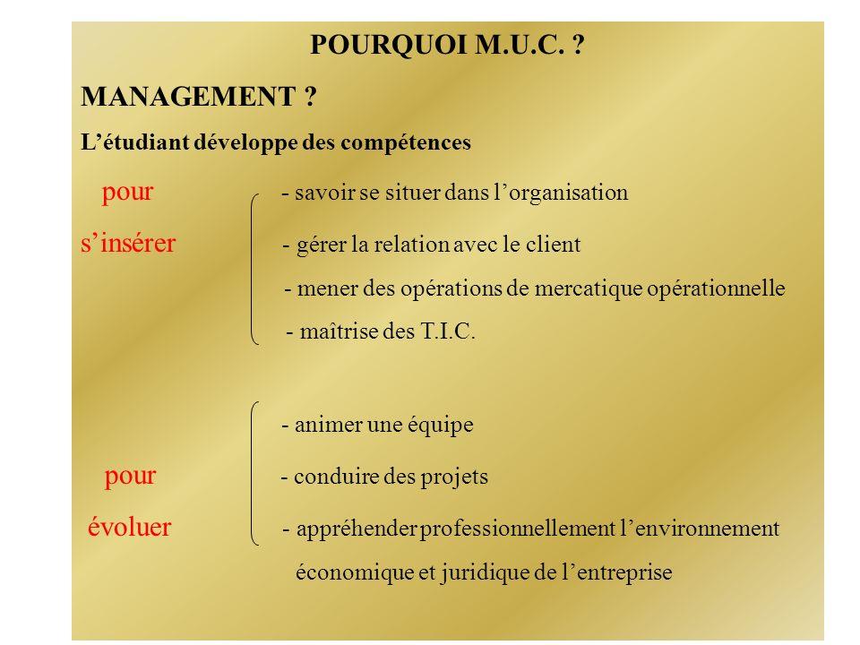 POURQUOI M.U.C. MANAGEMENT .
