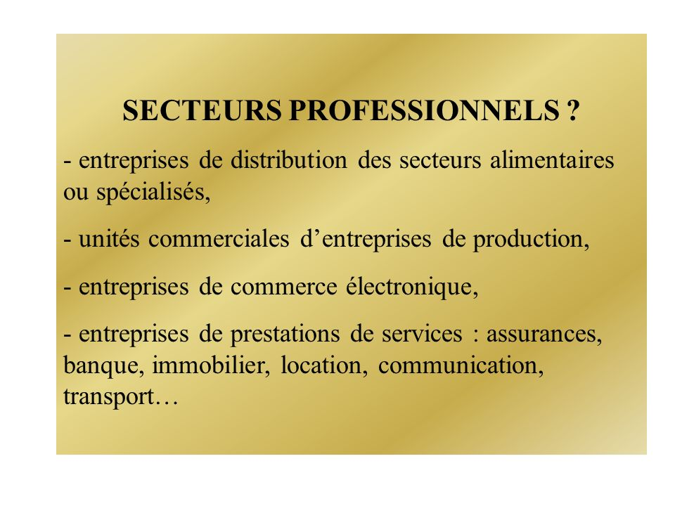 SECTEURS PROFESSIONNELS .