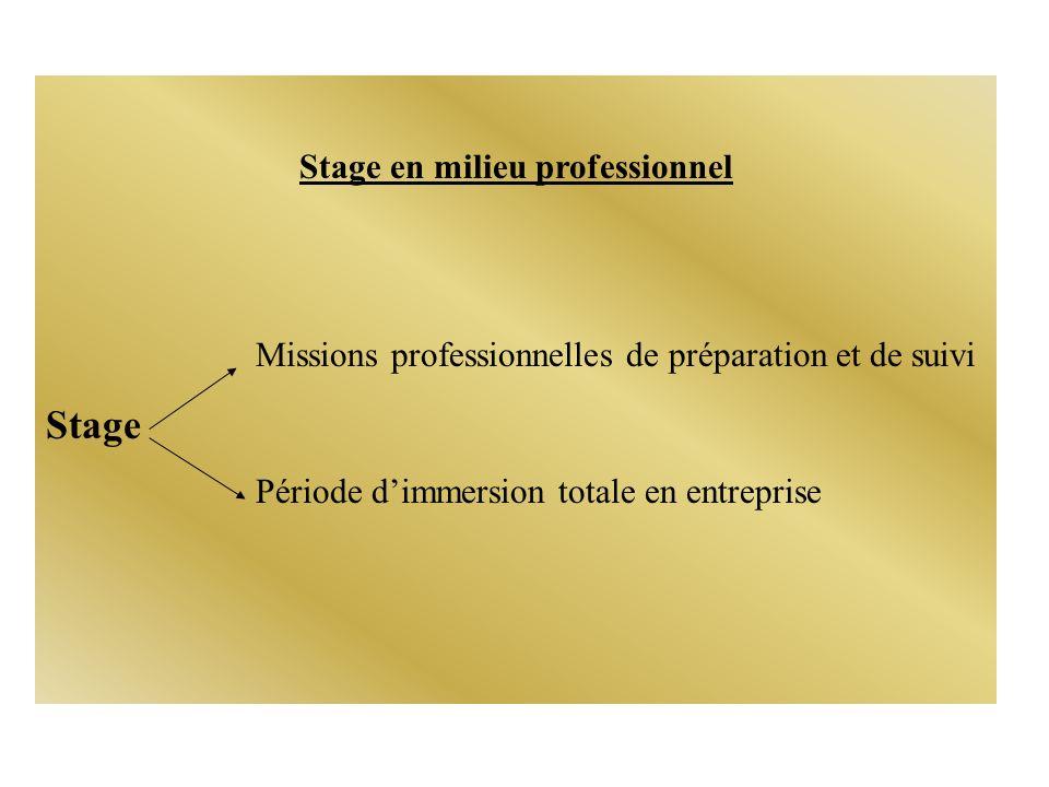 Stage en milieu professionnel Missions professionnelles de préparation et de suivi Stage Période dimmersion totale en entreprise