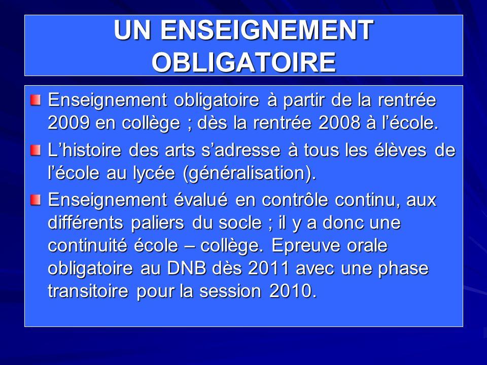 UN ENSEIGNEMENT OBLIGATOIRE Enseignement obligatoire à partir de la rentrée 2009 en collège ; dès la rentrée 2008 à lécole. Lhistoire des arts sadress