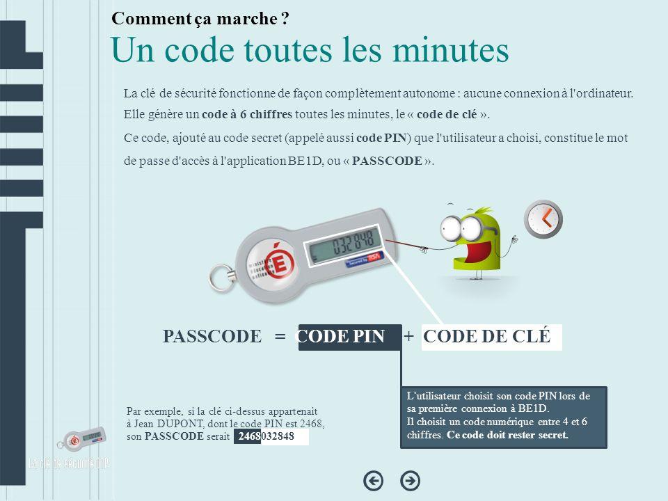 Décompteur de temps Le «décompteur de temps » indique le temps dont dispose lutilisateur pour saisir le code affiché sur la clé.