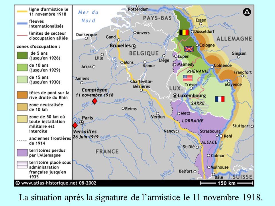 La situation après la signature de larmistice le 11 novembre 1918.