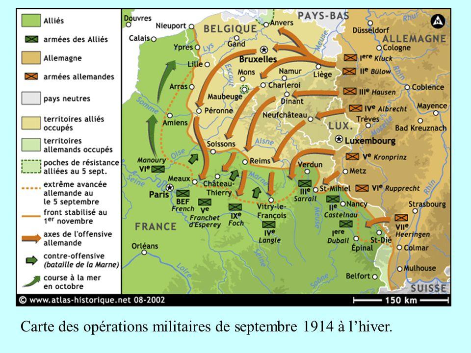 Carte des opérations militaires de septembre 1914 à lhiver.