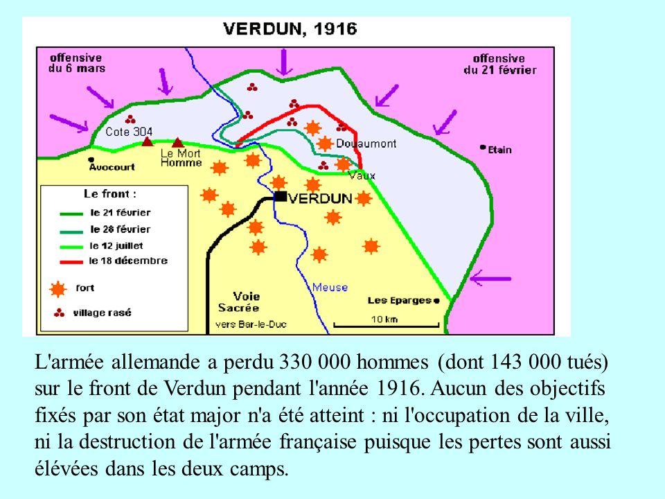 L'armée allemande a perdu 330 000 hommes (dont 143 000 tués) sur le front de Verdun pendant l'année 1916. Aucun des objectifs fixés par son état major