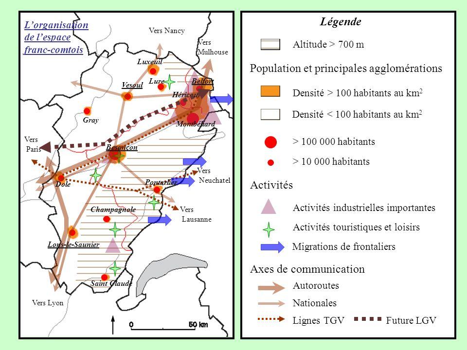 Axes de communication Autoroutes Nationales Lignes TGV Activités Migrations de frontaliers Activités touristiques et loisirs Activités industrielles i