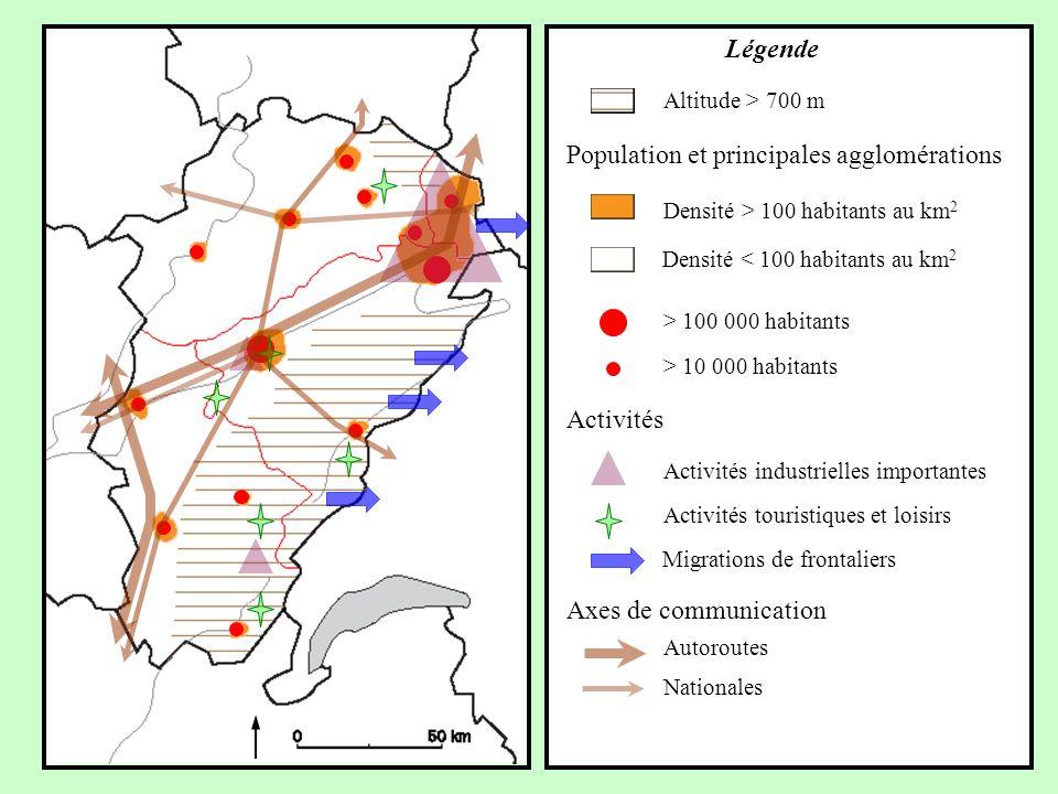 Axes de communication Autoroutes Nationales Activités Migrations de frontaliers Activités touristiques et loisirs Activités industrielles importantes