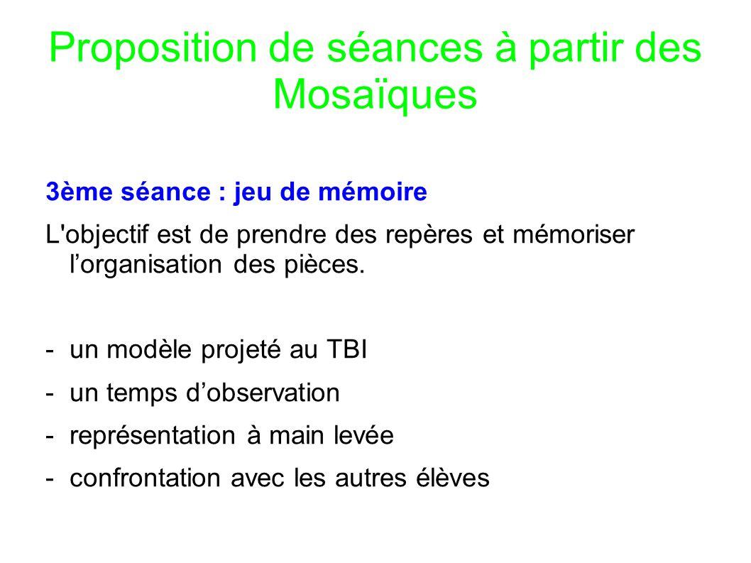 Proposition de séances à partir des Mosaïques 3ème séance : jeu de mémoire L objectif est de prendre des repères et mémoriser lorganisation des pièces.